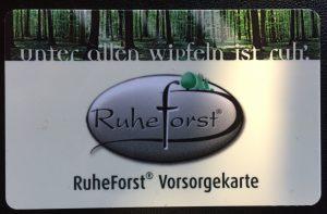 Das Bild zeigt die RuheForst-Vorsorgekarte